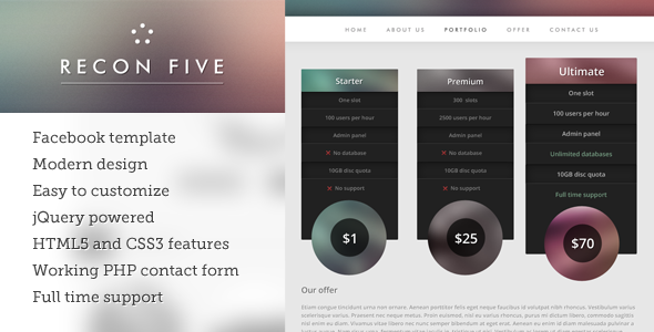 ThemeForest Recon five facebook template 3508488
