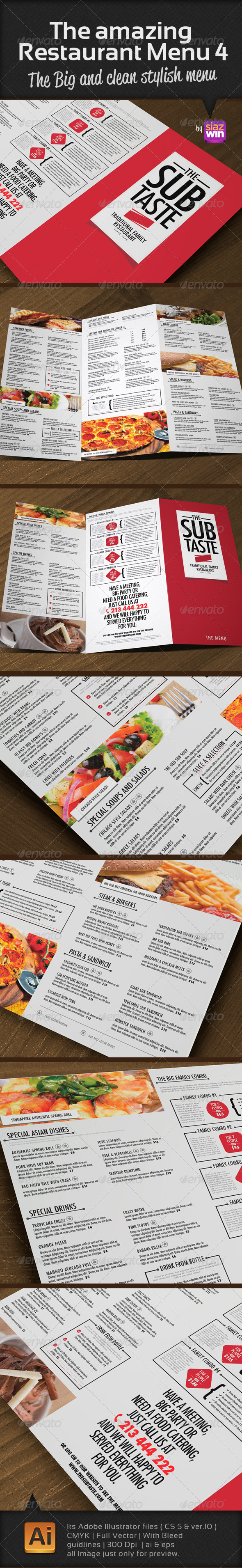 The Amazing Restaurant Menu 4  - Food Menus Print Templates