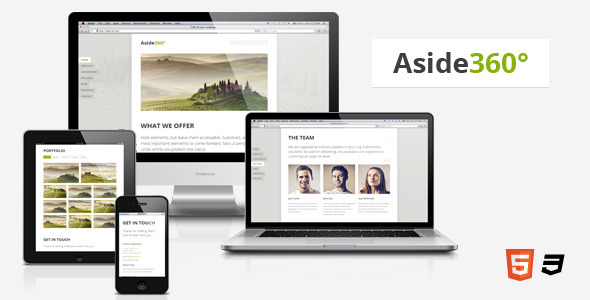 Aside360  Responsive HTML5 One-Page Theme - Creative Site Templates