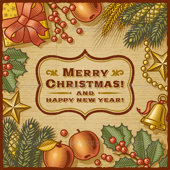 GraphicRiver Christmas Retro Card 3511527