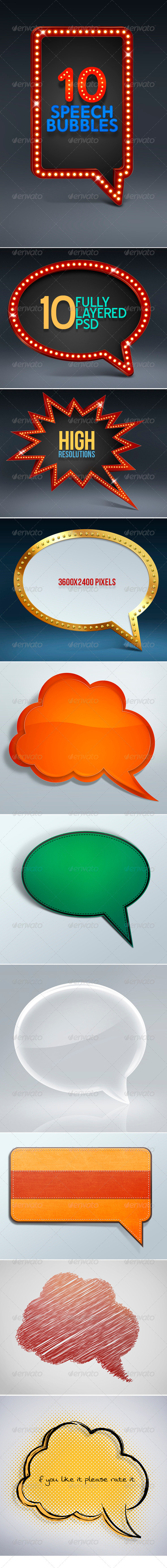 10 Speech Bubbles - Borders Decorative