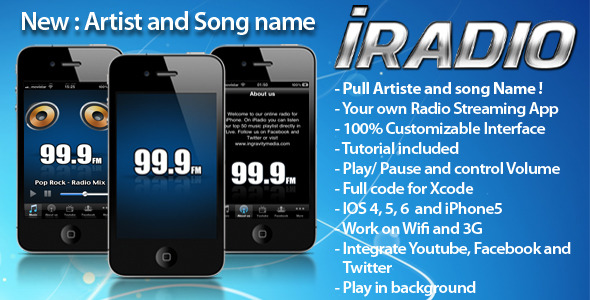 iRadio iPhone App - WorldWideScripts.net artigo para a venda