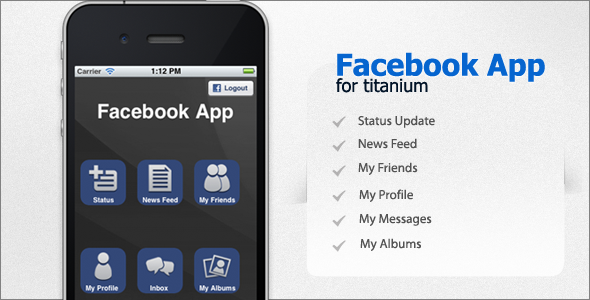 Facebook App kwa Titanium - WorldWideScripts.net Item kwa Sale