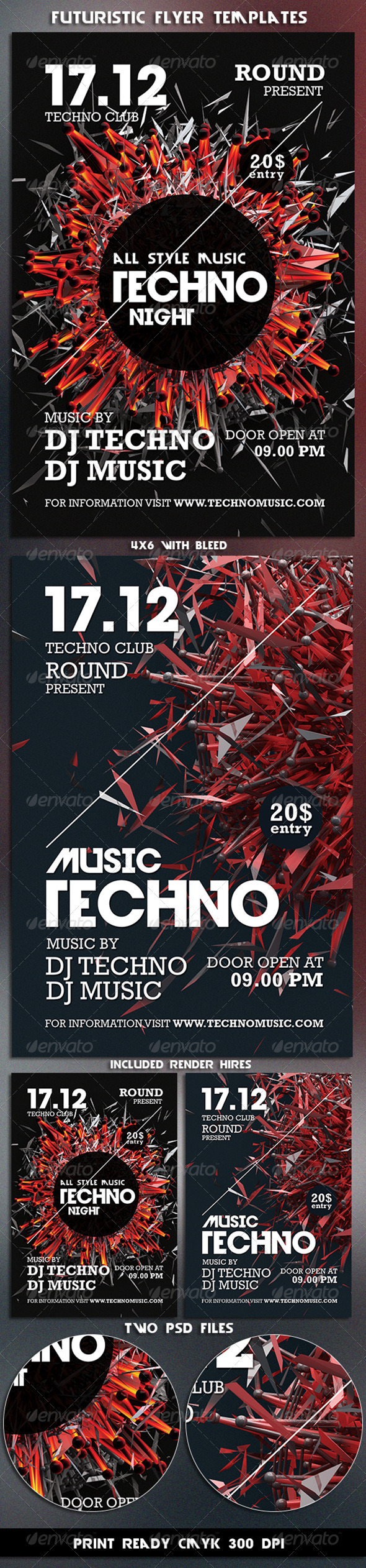 GraphicRiver Techno Music Futuristic Flyer Templates 3513106
