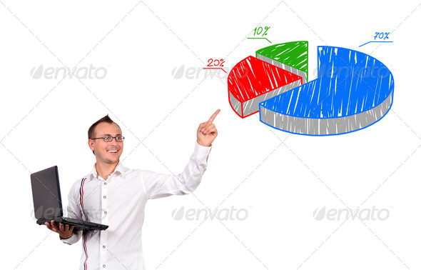 points to pie chart - Stock Photo - Images