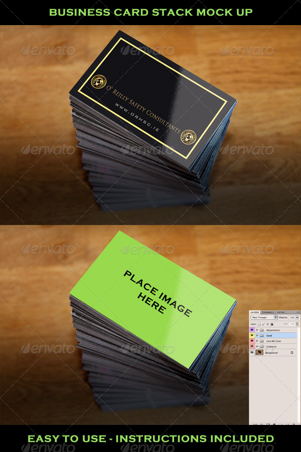 Business Card Stack Mock Up