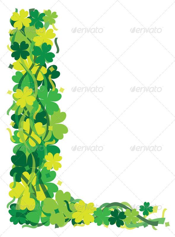 Clover Border Four leaf clover leaf border