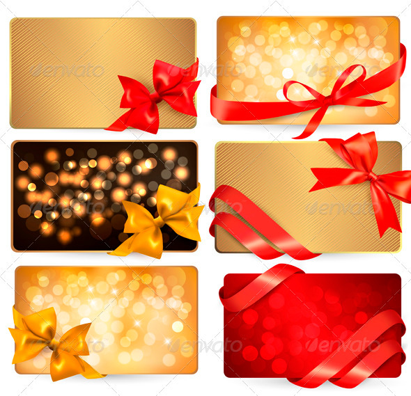 GraphicRiver Set of Beautiful Cards with Red Gift Bows 3502738