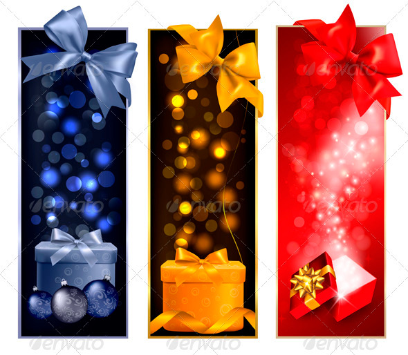 GraphicRiver Three Christmas Banners with Gift Boxes and Snow 3516439