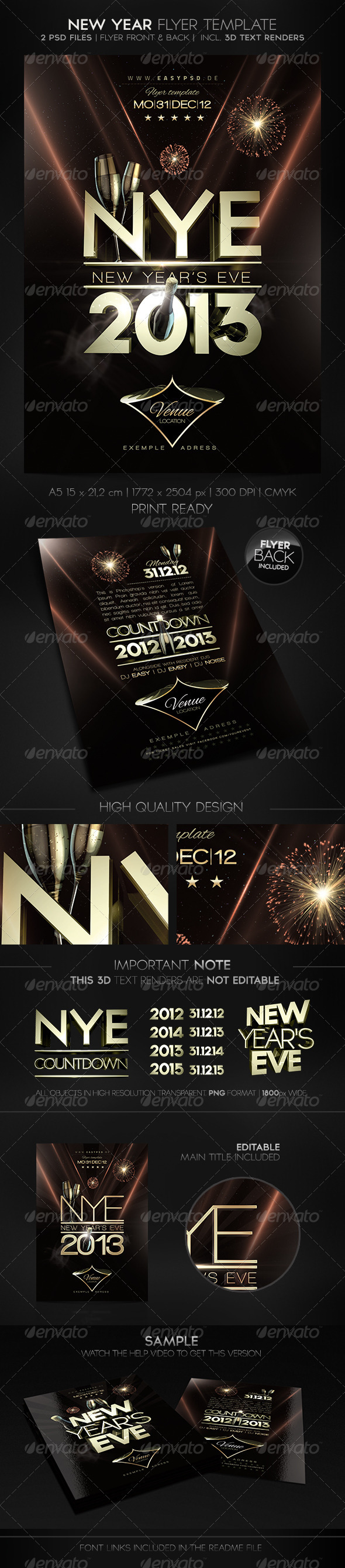 New Year Flyer Template - Holidays Events