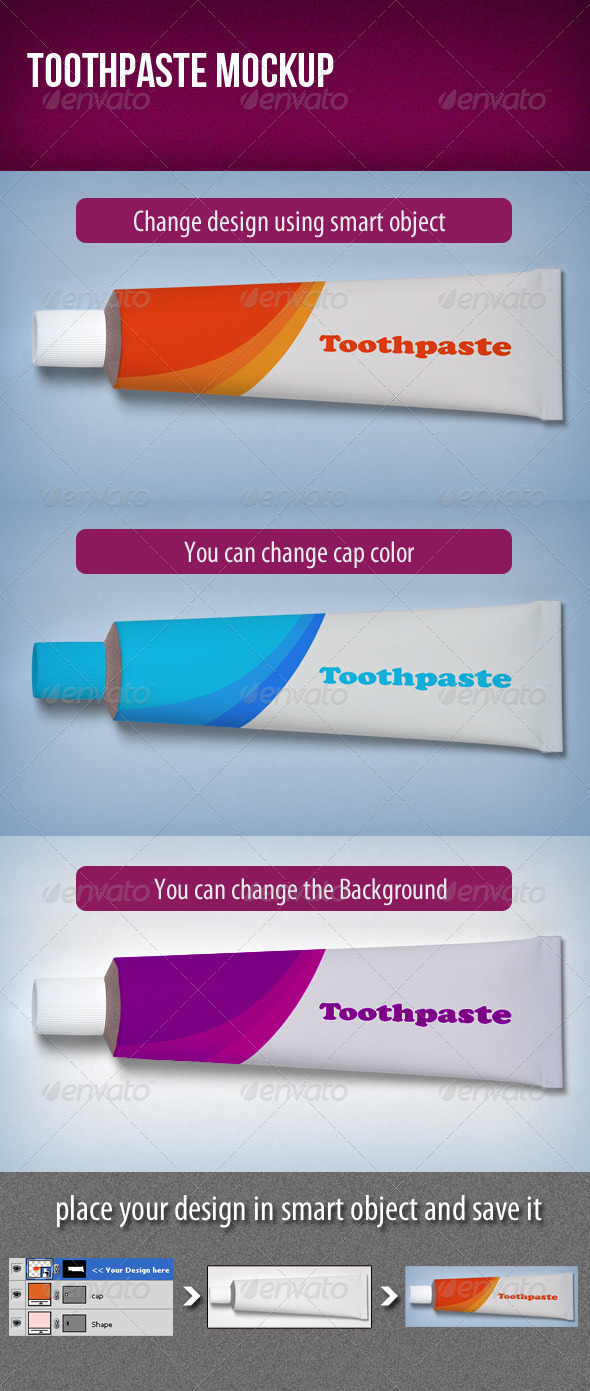 GraphicRiver Toothpaste Mockup 3517060