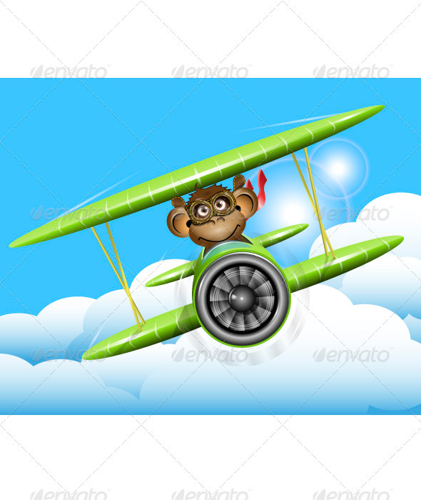 Monkey on a Plane - Animals Characters