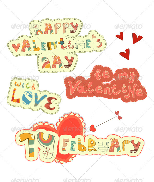 GraphicRiver Set of Hand Lettering for St Valentine s Day 3520359