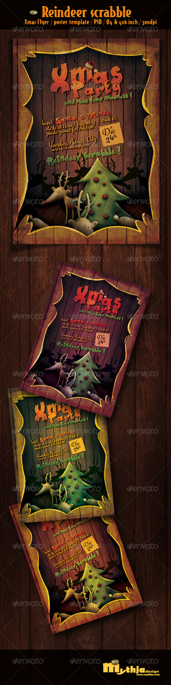 GraphicRiver Reindeer Scrabble Xmas flyer poster template 3521888