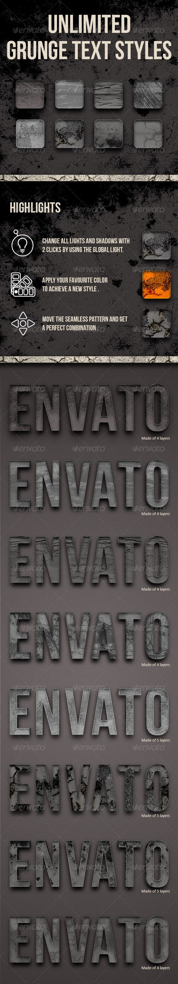 Grunge Text Styles - Unlimited - Text Effects Styles