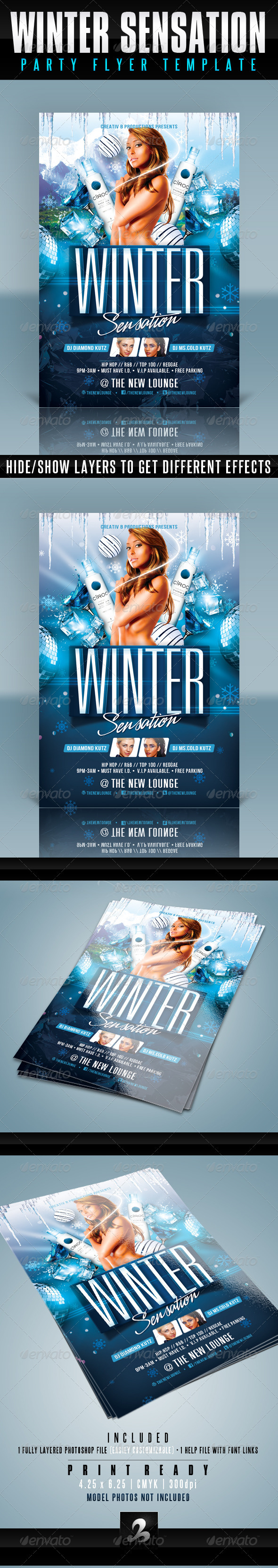 Winter Party Flyer Template - Clubs & Parties Events