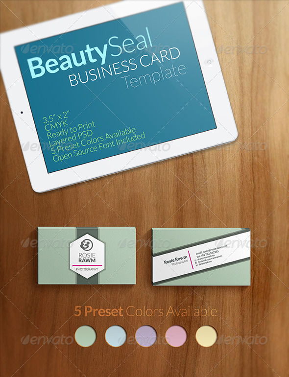 GraphicRiver Beauty Seal Business Card Template 3523558
