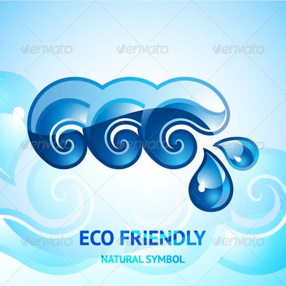Water Natural Blue Sign - Decorative Symbols Decorative