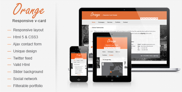 Orange Responsive V-card Template