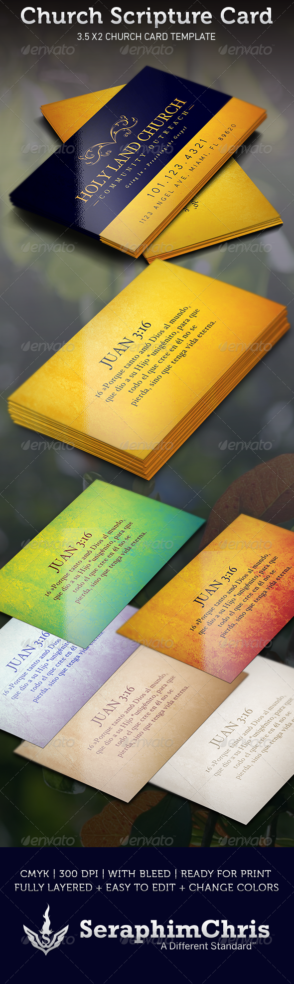 Church Scripture Card Template - Creative Business Cards