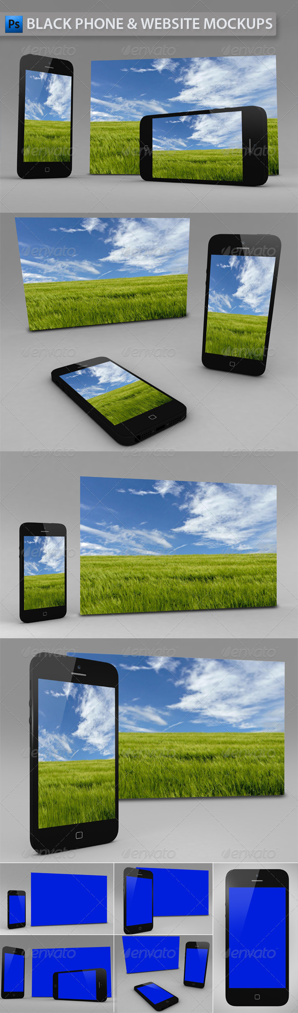 GraphicRiver Black Phone and Website App Mockup 3524993