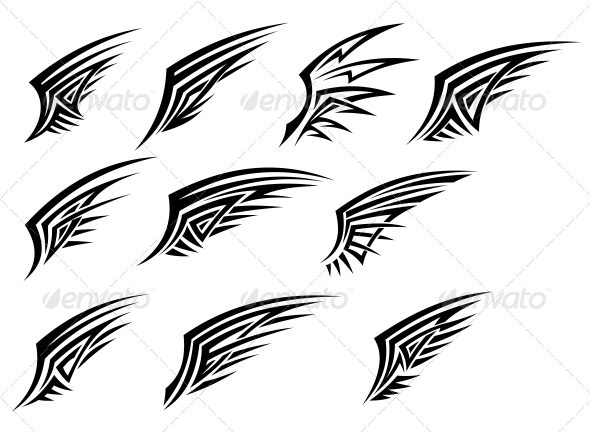 GraphicRiver Set of Black Tribal Wing Tattoos 3525034
