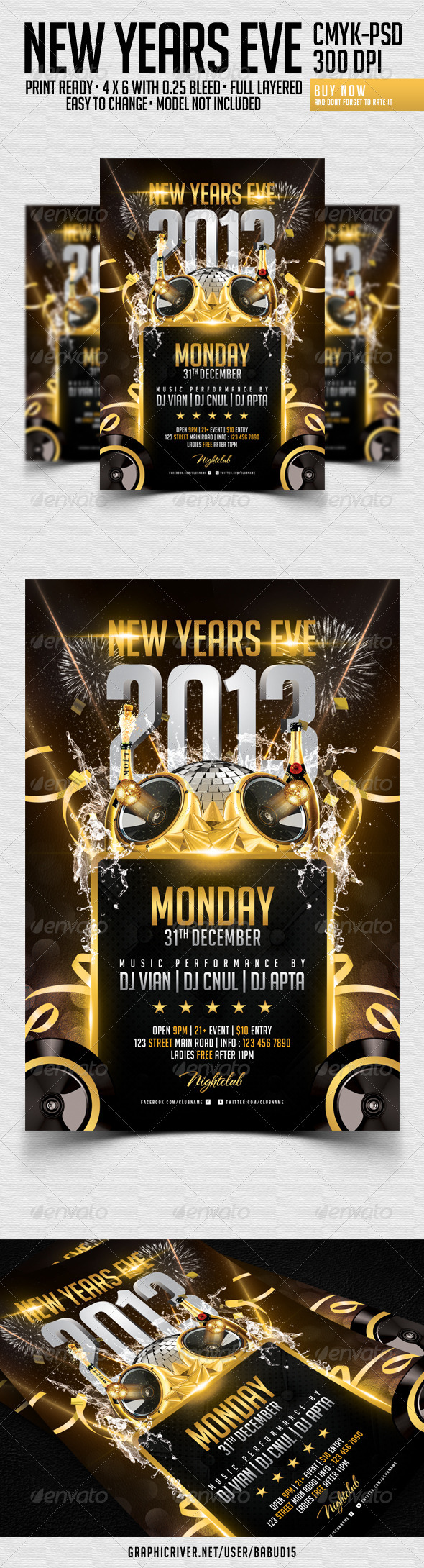 GraphicRiver New Years Eve Flyer Template 3525127