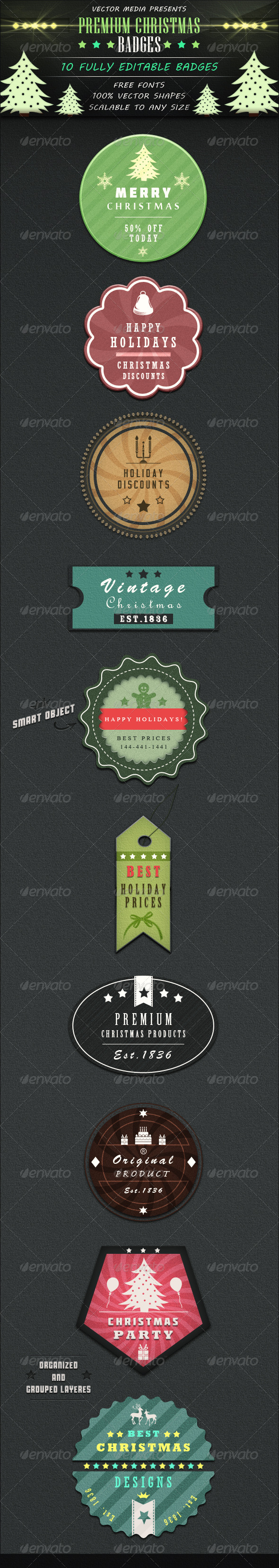 GraphicRiver Premium Christmas Badges 3497322
