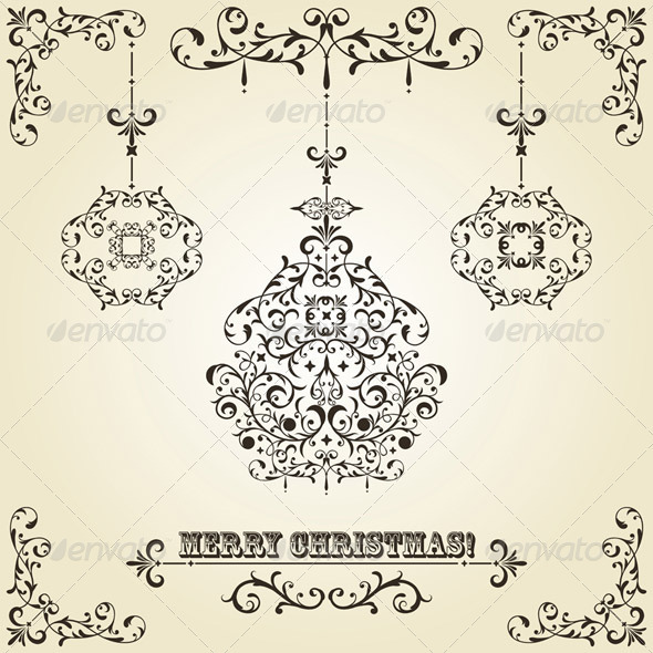 GraphicRiver Vector Vintage Christmas Greeting Card with Tree 3527047