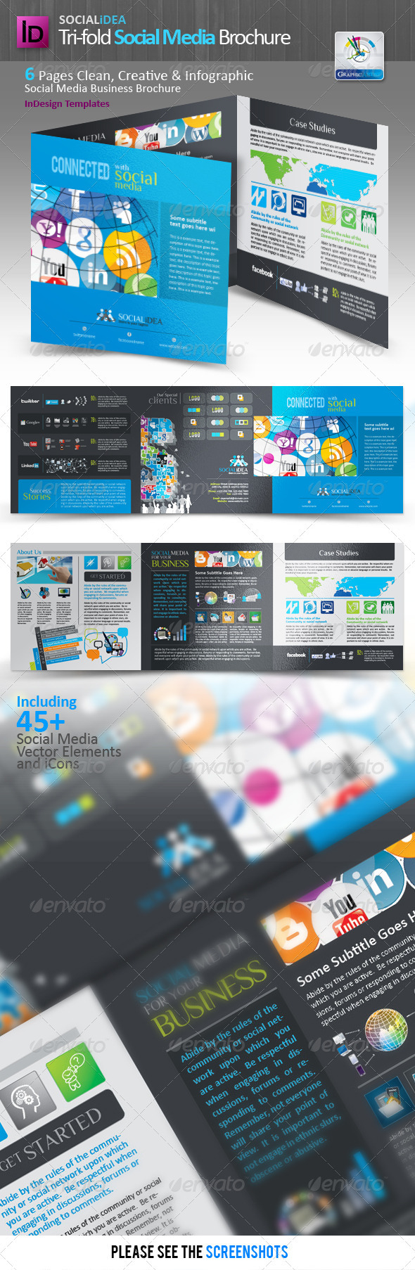 Socialidea Tri-fold Social Media Brochure - Corporate Brochures