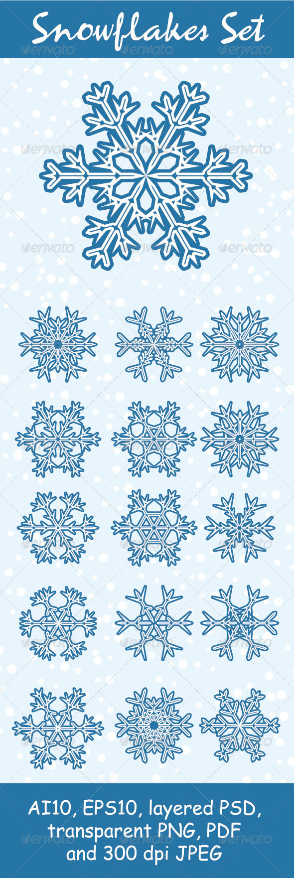 GraphicRiver Snowflakes Set 3529242