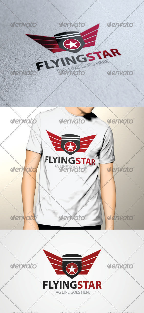 Flying Star Logo Template - Crests Logo Templates