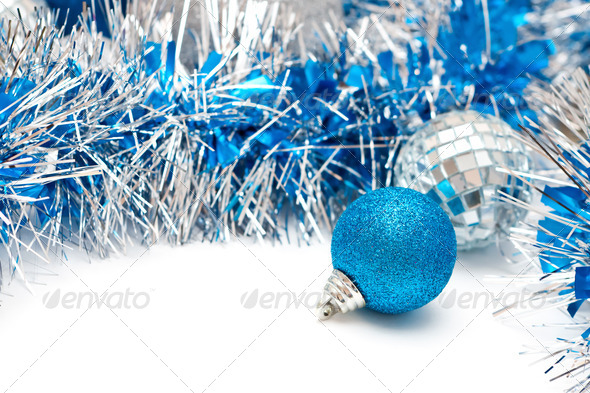blue ball and garland - Stock Photo - Images