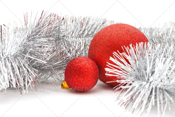 red balls and garland - Stock Photo - Images
