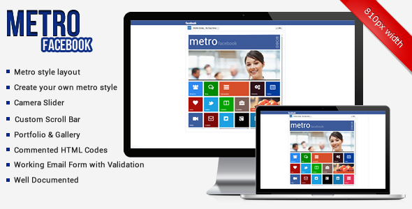 ThemeForest Metro Facebook Timeline HTML Template Site Templates Corporate Business 3531617