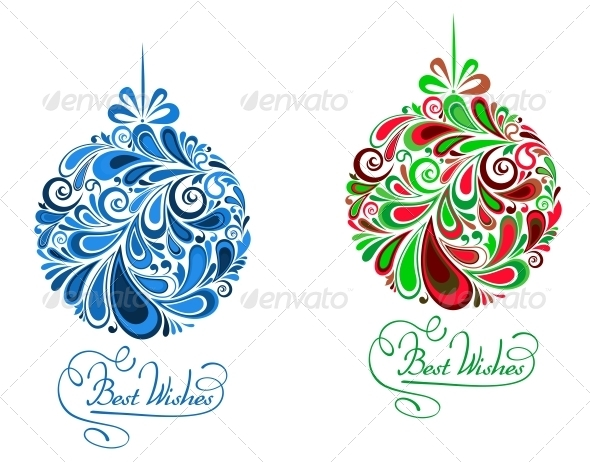 GraphicRiver Abstract Holidays Balls in Floral Style 3531713