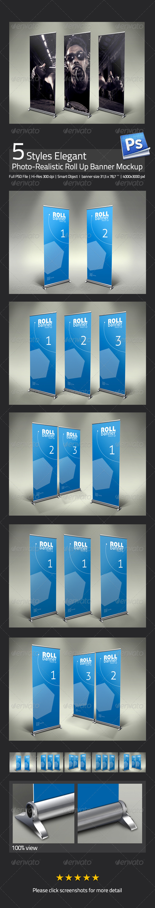 GraphicRiver Elegant Professional Roll Up Banner Mock Up 3532377