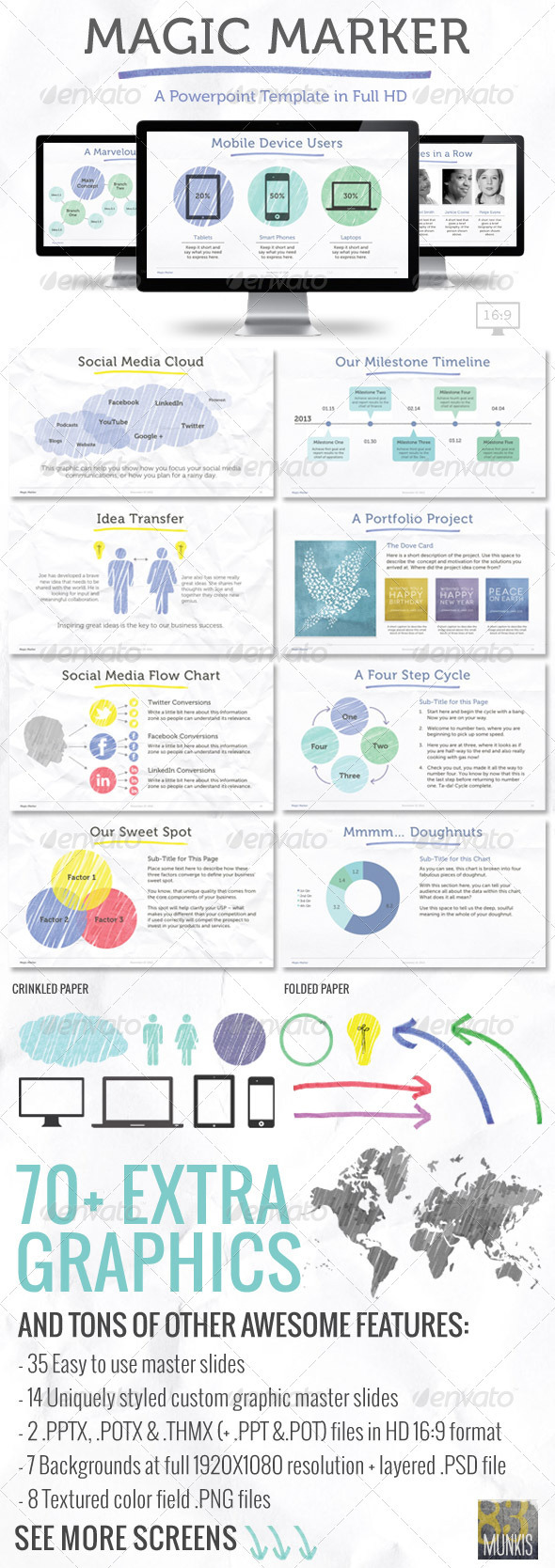 Magic Marker Powerpoint Template - Powerpoint Templates Presentation Templates