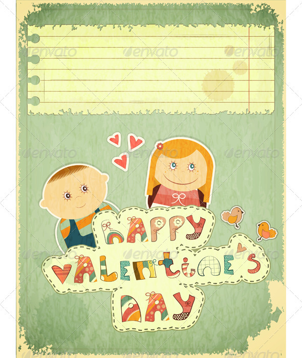 GraphicRiver Vintage Design Valentines Day Card 3532870