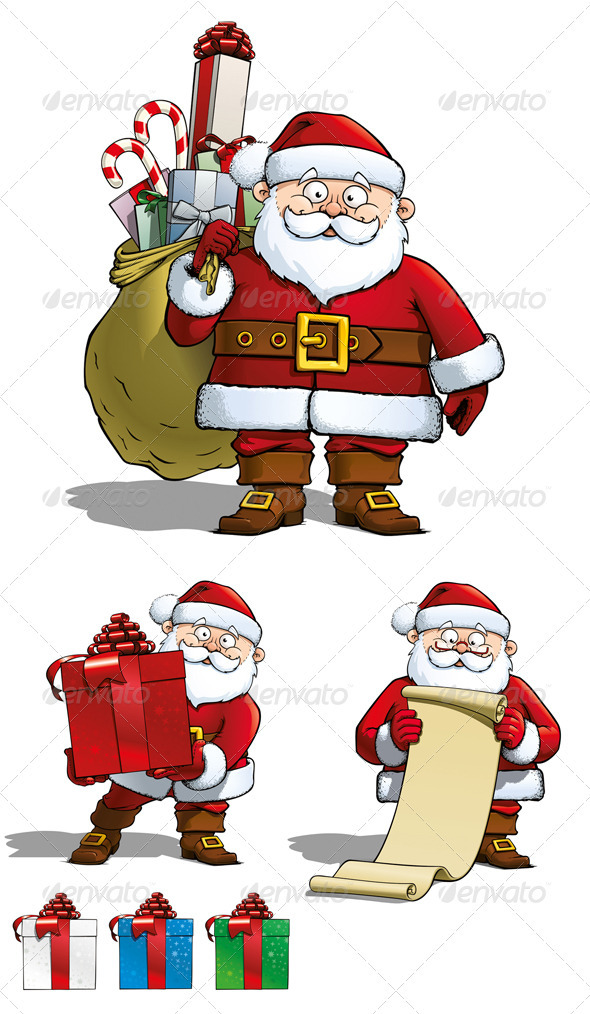 GraphicRiver 3 Santa Cartoons 3533273
