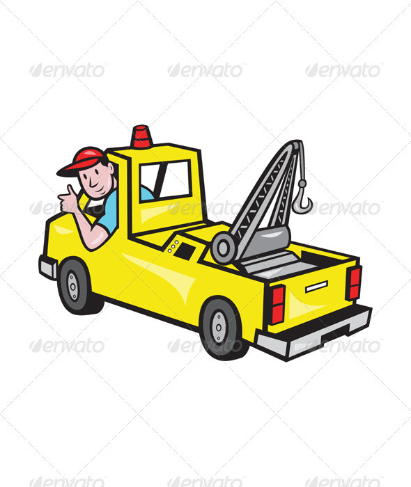 GraphicRiver Tow Wrecker Truck Driver Thumbs Up 3533441