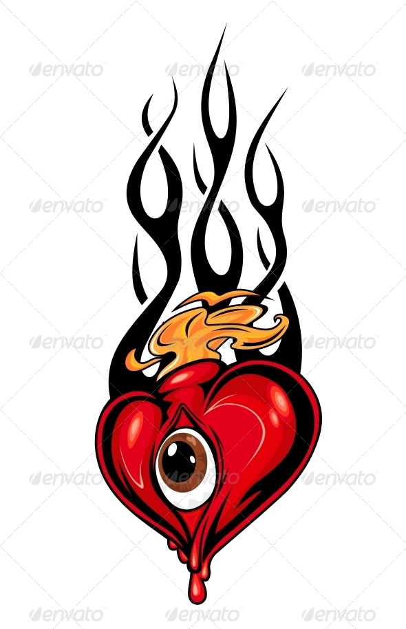 GraphicRiver Heart Tattoo or Mascot with Eye and Tribal Flames 3533600
