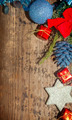 Christmas background with blue and red decoration - PhotoDune Item for Sale