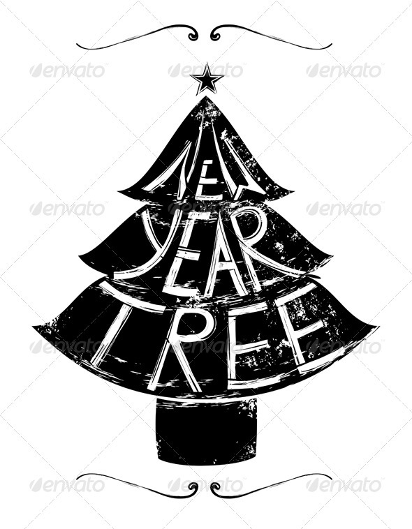 GraphicRiver New Year Tree Retro Lettering 3533684