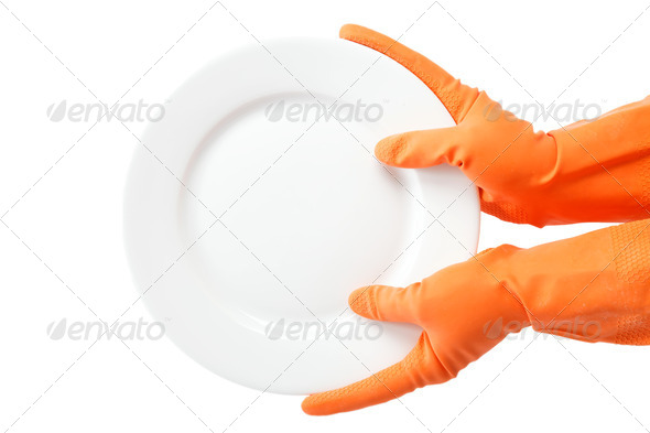 Hands in rubber gloves holding the plate on a white background. - Stock Photo - Images