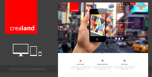 ThemeForest Crealand Responsive app landing page Marketing Landing Pages 3534001