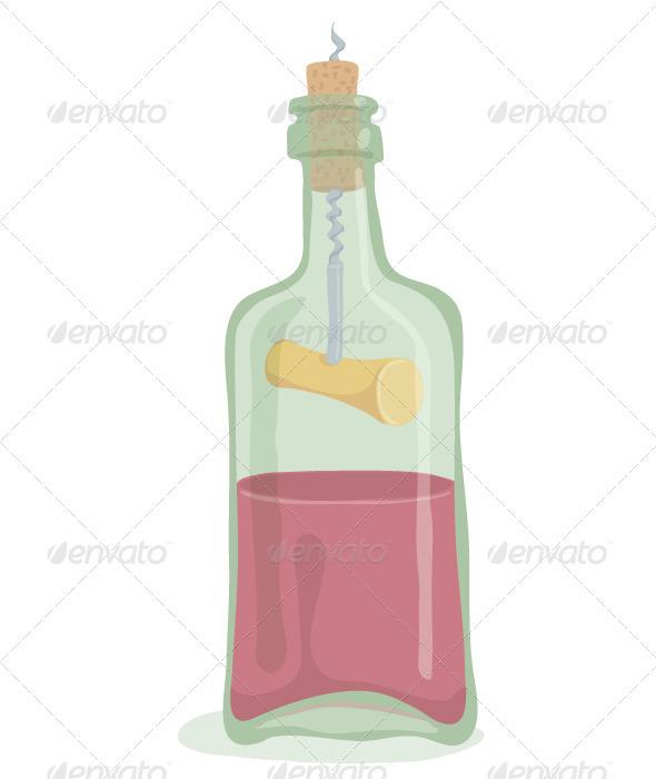 GraphicRiver Half Bottle of Wine 3536192