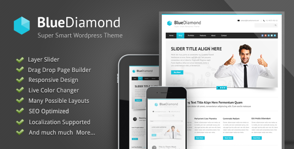 ThemeForest Blue Diamond Responsive Corporate WP Theme 3454881