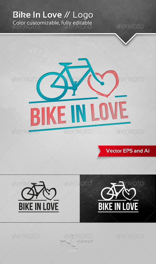 Bike In Love Logo - Objects Logo Templates