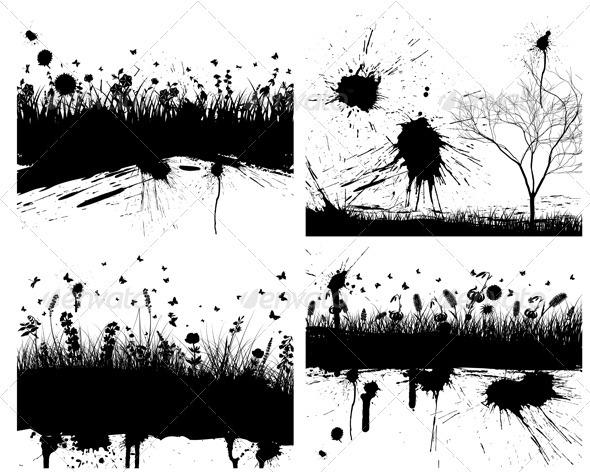 GraphicRiver Grunge Grass Background Set 3537459